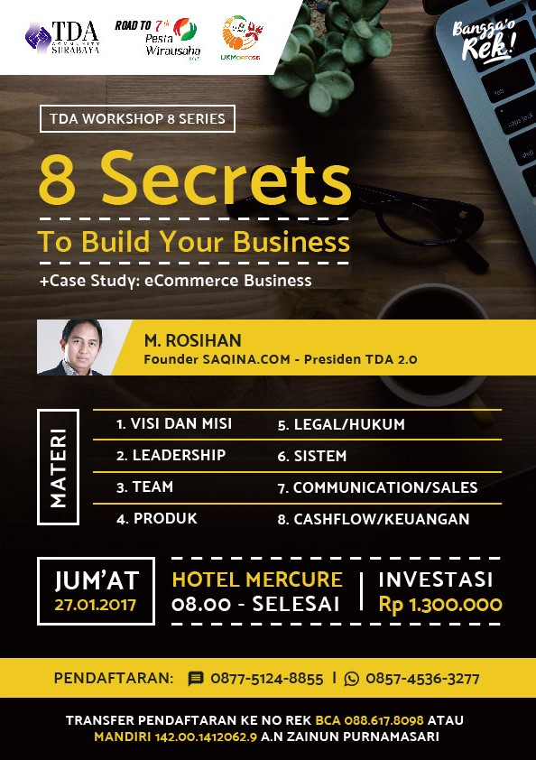 TDA Workshop 8 Series FULL DAY – 8 Secrets to Build Your e-Commerce Business