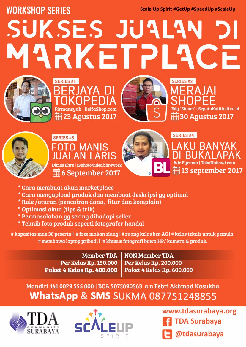 "TDA Class – Workshop Series ""Sukses Jualan di Marketplace"""