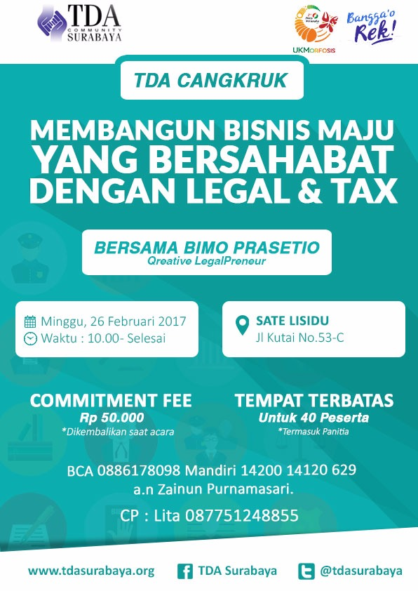 TDA Cangkruk Edisi Spesial Membangun Bisnis Maju yang Bersahabat dengan Legal dan Tax