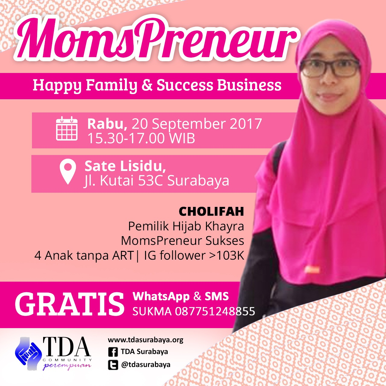 "TDA Perempuan – ""Mompreneur"" With Cholifah – Owner of Hijab Khayra"