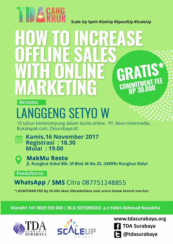 TDA CANGKRUK – How To Increase Offline Sales With Online Marketing