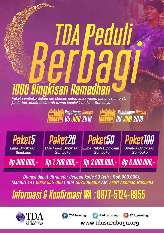 TDA Peduli Berbagi 1000 Bingkisan Ramadhan